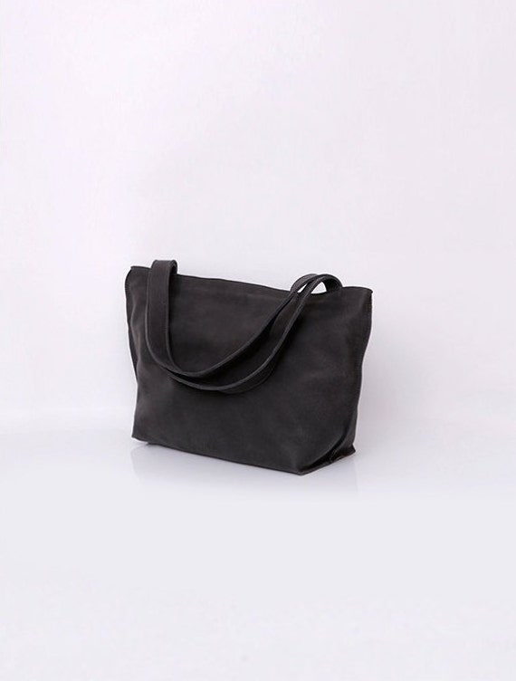 Black Leather bag Women Handbag Handmade Leather Tote  d6a5d35a1be3f