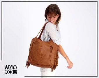 Brown Leather Bag, Large Leather Tote, Leather Tote Bag, Fringe Purse, Leather Shoulder Bag, Women bag, Handmade Leather, FRINGE BAG, Gray