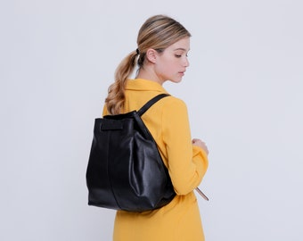 Black Leather Backpack,  Drawstring Bag, Woman Leather Backpack, Drawstring Backpack, Black Leather Bag, Leather Rucksack, Bags On sale