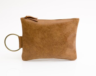 Brown Leather Clutch - Leather wirstlet - Women evening clutch - Small lether bag with Metal ring in brass color - Leather Wristlet