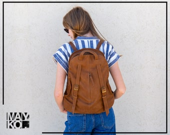 Brown Leather Backpack, Backpack Woman, Leather Backpack Purse, Laptop Bag, Convertible Backpack, Back Bag, Travel Bag Leather, Gift For Her