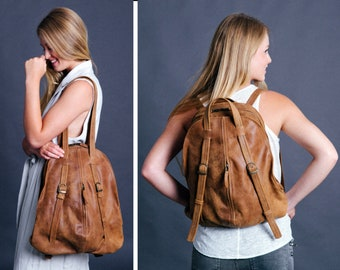 Brown leather backpack, Convertible Backpack Purse, Leather Backpack Woman, Laptop Backpack, Travel Bag, Shoulder Bag, Gift For Her, Mayko
