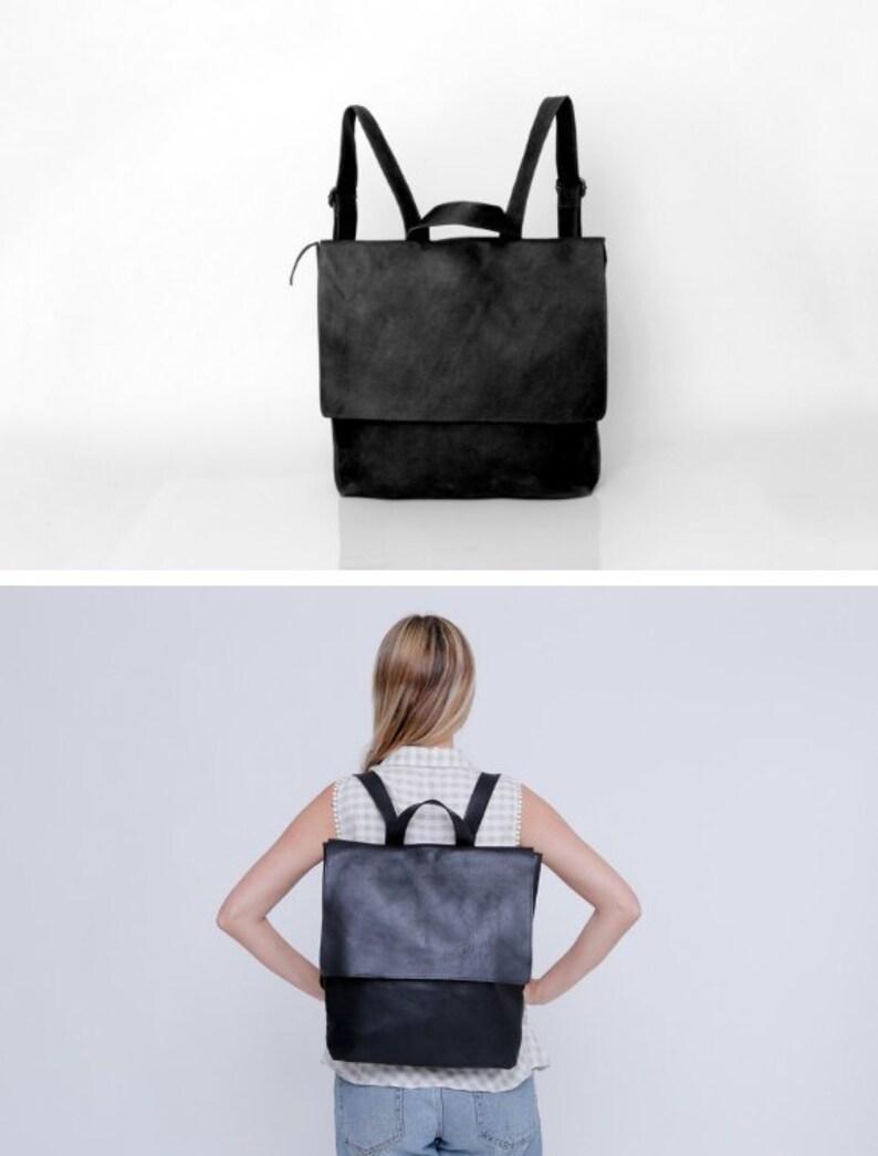 d3c148de6d10 Black Leather Backpack Laptop Backpack Bag Messenger