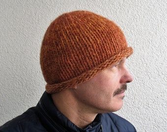 b03d53fce3b Men s winter hat 100% natural icelandic wool and sheep wool multicolor  orange cable knit cap Boys beanie winter classic Roll Brim gift idea