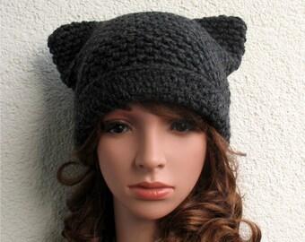 cbcfec8cdbd Womens pussy hat 100% natural wool ECO Girls handmade winter crochet pure  wool black cat ear hat Chunky cozy hat Girls teenager cat hat warm