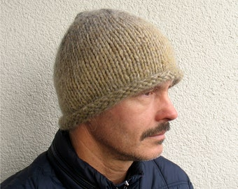 0e42be77be1 Mens winter hat 100% natural icelandic wool and sheep wool beige hat  handmade pure wool Mens knitted super warm cozy winter Roll Brim hat
