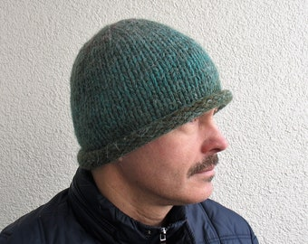 Mens winter hat 100% natural icelandic wool and sheep wool multicolor green  handmade Mens knitted super warm cozy winter hat Roll Brim hat d115c19feed1