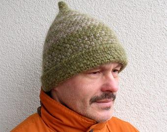 Mens winter hat 100% natural icelandic wool light beige clover green hat  Boys handmade pure wool hat Mens crochet hat warm cozy hat chunky 14c1dff323b9