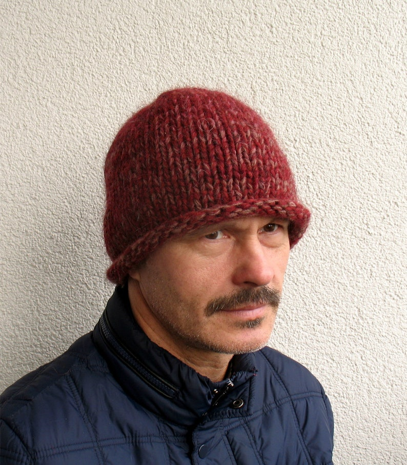 a43cc6ec6 Mens dark red winter hat 100% natural icelandic wool ECO hat Boys handmade  pure wool cap cable knit hat Winter classic with Brim warm skull