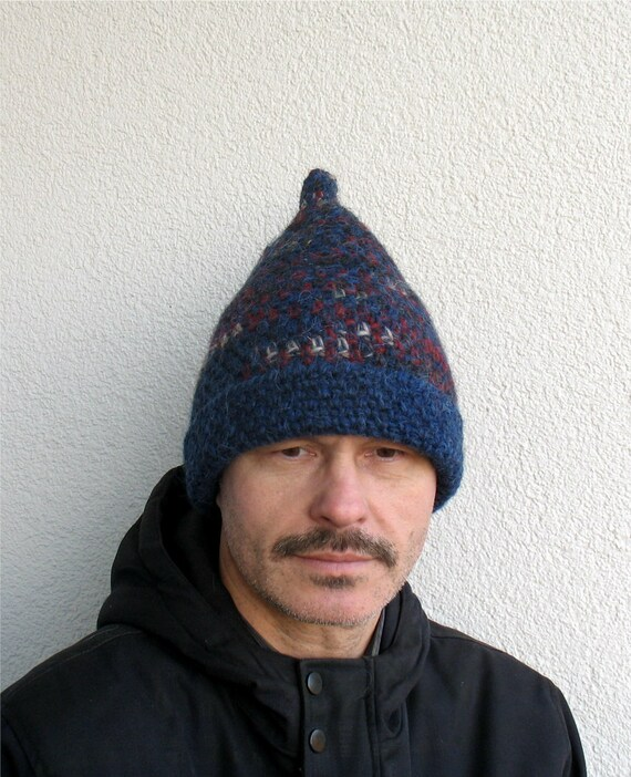 Mens winter hat 100% natural icelandic wool ECO blue red black  cd288277e03a