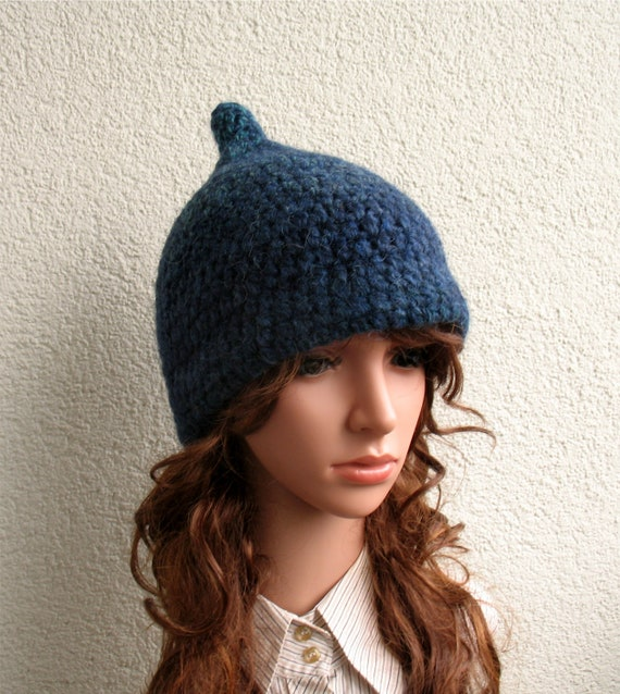 Womens winter hat 100% Icelandic wool blue green natural  19bb9876b