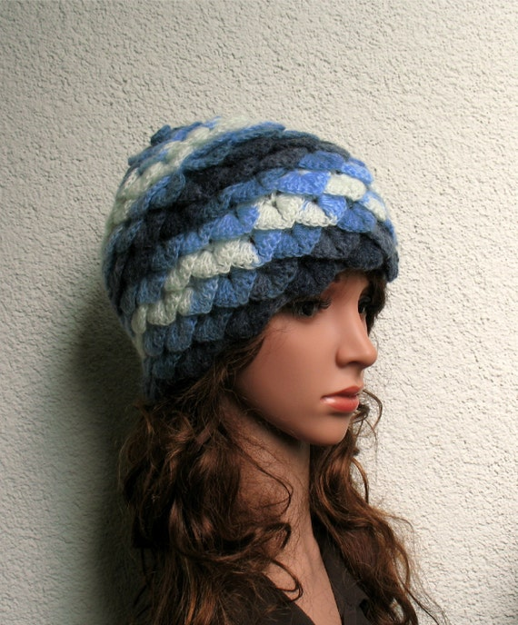 Womens Girls crochet hat wool crocodile stitch Teenager  2475495b7
