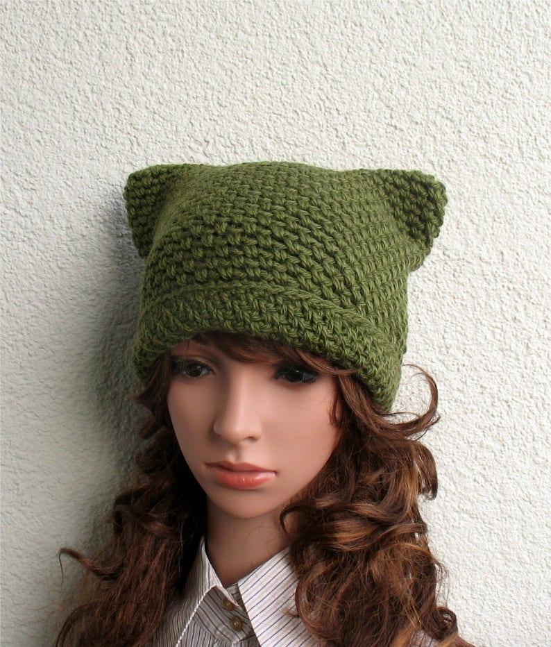 Women/'s winter pussy hat 100/% natural wool ECO Girls handmade crochet pure wool green cat ear hat Chunky cozy hat Girls winter pussy cat hat