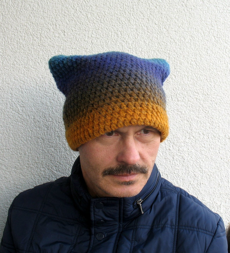 Mens winter hat 100% natural ECO sheep wool hat Men pussyhat  725c61be74d