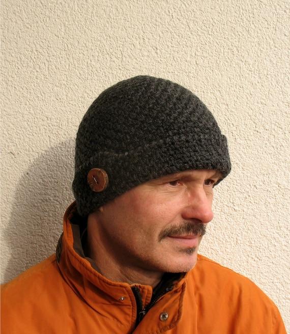 Mens winter hat 100% natural wool ECO chunky skull black hat  c01e20cbec2