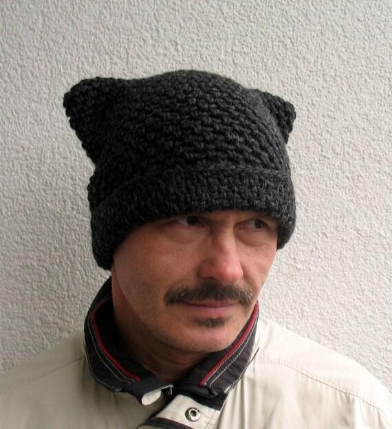 Mens pussy hat 100% natural wool Mens hat Mens handmade hat  e4dd1c6eb7b