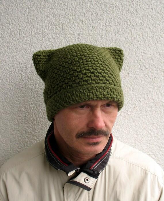 Mens Pussy Hat 100 Natural Wool Mens Dark Green Hat Cat Etsy