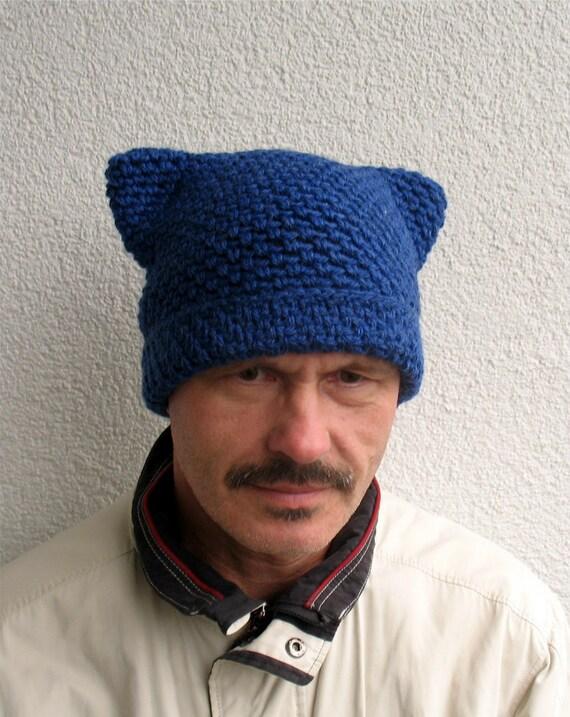 Mens Winter Pussy Hat 100 Natural Wool Mens Handmade Pure Etsy