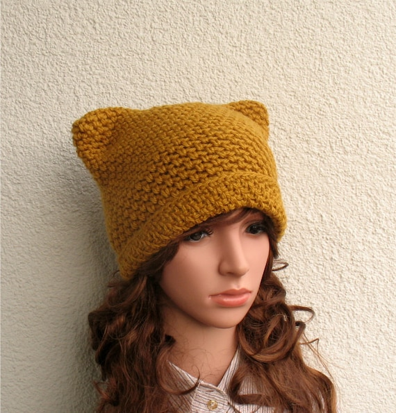 Women s winter pussy hat 100% natural wool Girls handmade  a74bbcaf39f