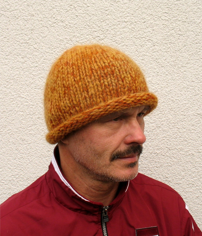 Mens winter hat 100% natural icelandic wool ECO yellow hat  9a5c82512dc0