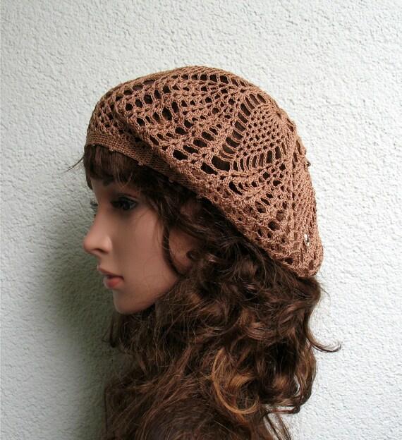 887449e039173 Boina de luz Brown algodón de mujer verano Crochet boina