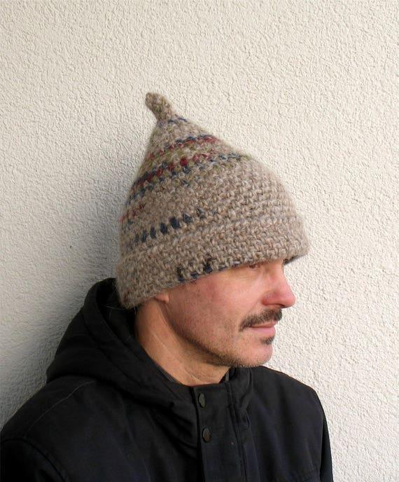 Mens winter hat 100% natural icelandic wool ECO light beige  f34cbe12360f