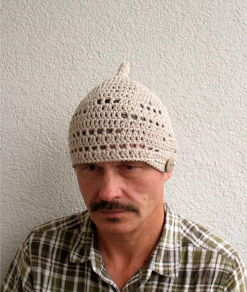 7dbb4fa759b2e2 Mens light beige skull hat Mens cotton pixie crochet summer   Etsy