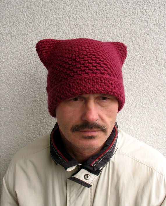 Mens winter pussy hat 100% natural wool ECO Boys hat Mens dark  0cc2b06d92e