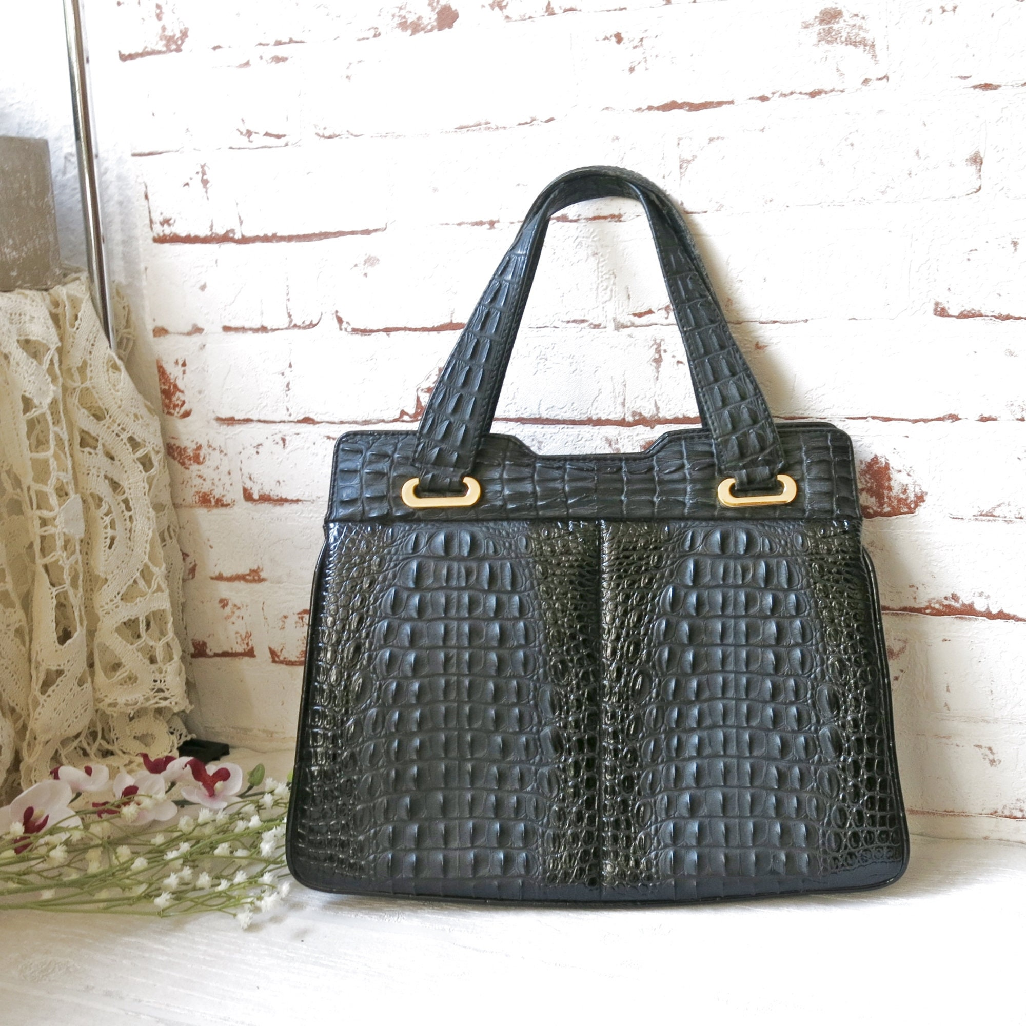 best loved 89cdc 148dd Vintage Rieke handbag, imitation leather croc look