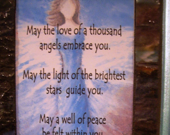 """7""""x12"""" soft blue framed inspirational mosaic includes angel and goodness and light"""
