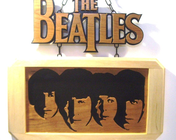 The Beatles two part scrolled silhouette wall art