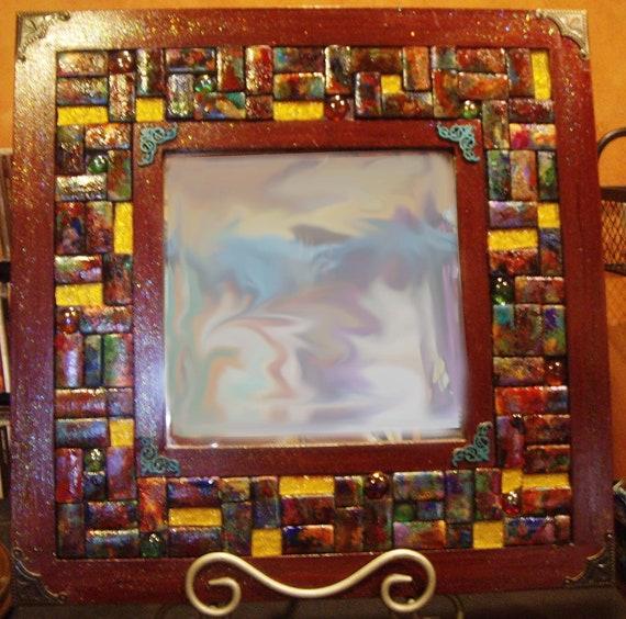 Square colorful wood block mirror