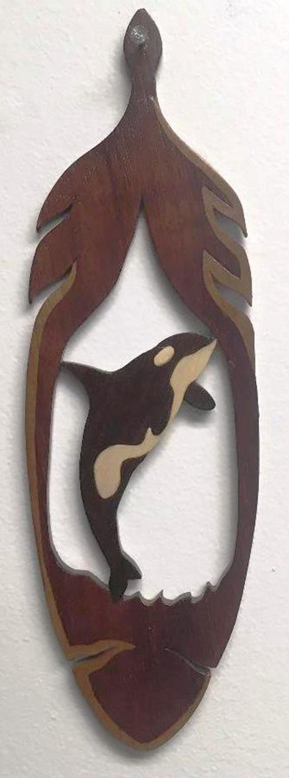 Native American inspired wood feather with Orca