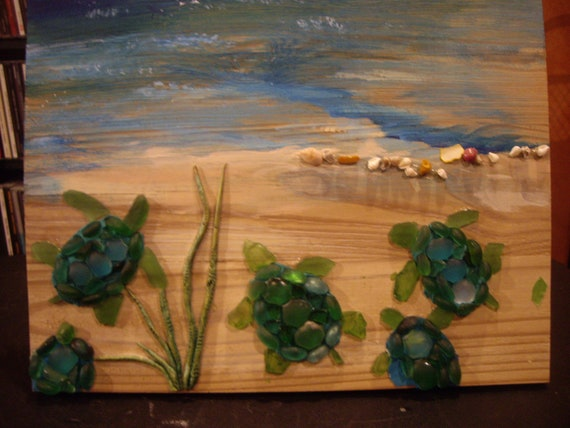 """10'x13"""" Baby Sea Turtles Stained Glass on wood"""