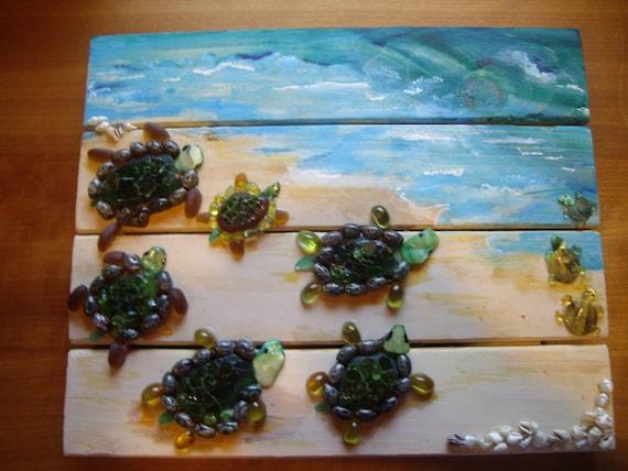Baby Sea Turtle wood panel