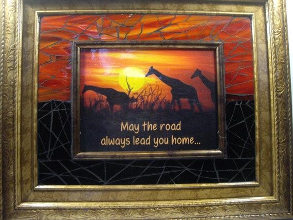 "16""x18"" Giraffe Family Inspirational Mosaic"