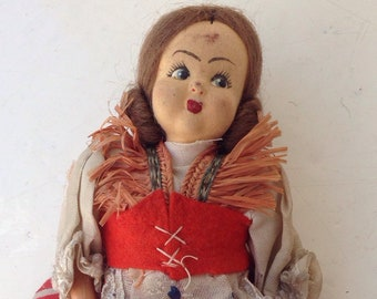 Cute Country Vintage Doll Folk Art Handmade Figure World Costume Dolly Charming