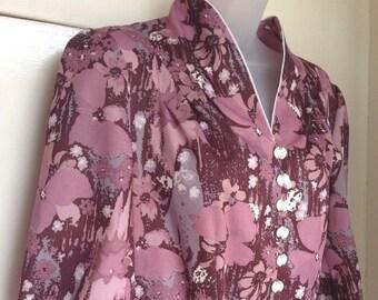Vintage Dress Mauve Lilac 1960s Clothing 1970s Seventies Fashion Size 12 D