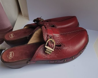 397d16ae4 Scholl Vintage Clogs Wooden Sole Dark Red Leather Mules Buckle EU 39 UK  Size 6