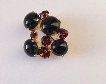 Dark Green and Brown Brooch Old Fashioned Geometric Round Circular Bead Pin Costume Jewellery