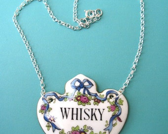 Sterling silver and antique china whisky label necklace
