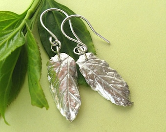 Fine silver and sterling silver leaf earrings
