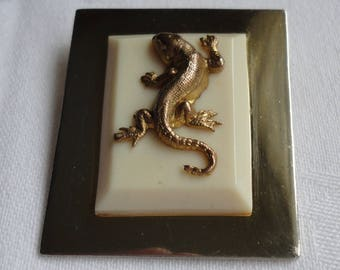 Vintage Gold tone and Cream Lucite/Galalith Salamander/Lizard Brooch/Pin - Art Deco - 1930's - Jean Painlevé  France - Signed Depose