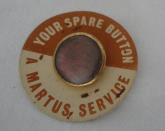 1950/'s Two Available Unused and Still on Cards Vintage AbaloneMother of Pearl and Gold Tone ButtonCollar Stud by Martus