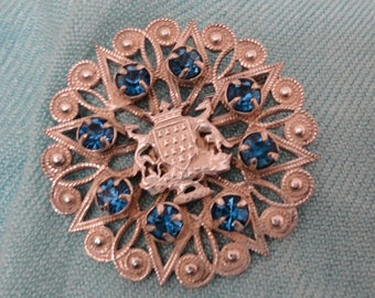 Vintage Silver Plated Souvenir Brooch/Pin with Faceted Blue Rhinestones/Diamante - Bretagne/Brittany France - Coat of Arms/Heraldry