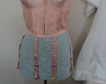 Vintage Pink Satin Four Strap Suspender/Garter Belt - 1940's/1950's - Matching Soft Cup Long Line Bra Available Also
