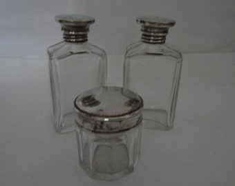 Antique/Vintage Cut Glass Vanity/Make Up/Cold Cream Bottles/Box/Pot with Silver Plated Tops/Lids - Art Deco - Travel/Dressing Table/Vanity
