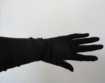Vintage Christian Dior Black Stretch Satin Elbow Length Gloves - 1980s - Size 7 to 7.5 - Wedding/Ball/Prom/Cruise/Opera - Designer/Catwalk