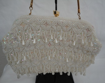 Vintage White Seed Beads, AB Sequin and Faux Pearl Drop Evening Bag/Purse - 1960s - Handmade for Le Soir - Ideal Bridal/Cruise/Prom/Races