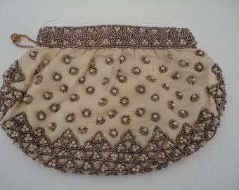 Vintage Art Deco Gold Envelope Bag/Purse with Faux Pearl & Seed Bead Design - 1920s - Bridal/Cruise/Prom/Races - Talon Ball and Chain Zipper